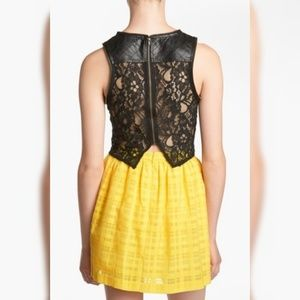 ASTR Faux Leather/Sheer Lace Crop Top